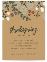 This is a blue holiday party invitation by Karidy Walker called Festive Autumn Foliage printing on signature.