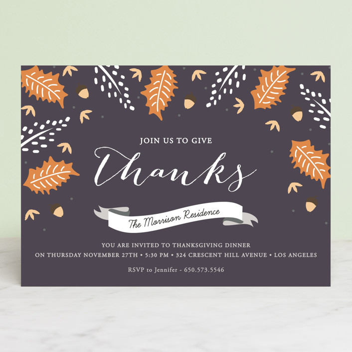 """""""Autumn Foliage"""" - Rustic/Craft Holiday Party Invitations in Eggplant by Oma N. Ramkhelawan."""