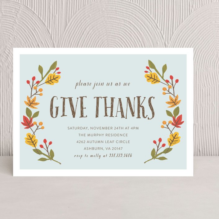 """""""Giving Thanks"""" - Rustic/Craft Holiday Party Invitations in Light Aqua by August and Oak."""