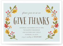 This is a blue holiday party invitation by August and Oak called Giving Thanks printing on signature.