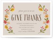 This is a grey holiday party invitation by August and Oak called Giving Thanks printing on signature.
