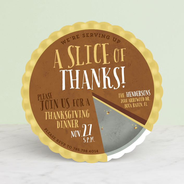 """""""A Slice Of Thanks"""" - Bold typographic Holiday Party Invitations in Lemon Meringue by Keen Peachy."""