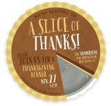 This is a yellow holiday party invitation by Keen Peachy called A Slice Of Thanks printing on signature.