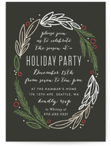 This is a black holiday party invitation by Alethea and Ruth called Holiday Wreath printing on signature.