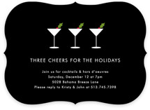 This is a black holiday party invitation by Kim Dietrich Elam called Three Cheers printing on signature.