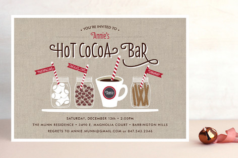 Hot Cocoa Bar Holiday Party Invitations by Beth Sc Minted