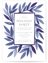 This is a blue holiday party invitation by Katharine Watson called Painted Leaf Frame printing on signature.