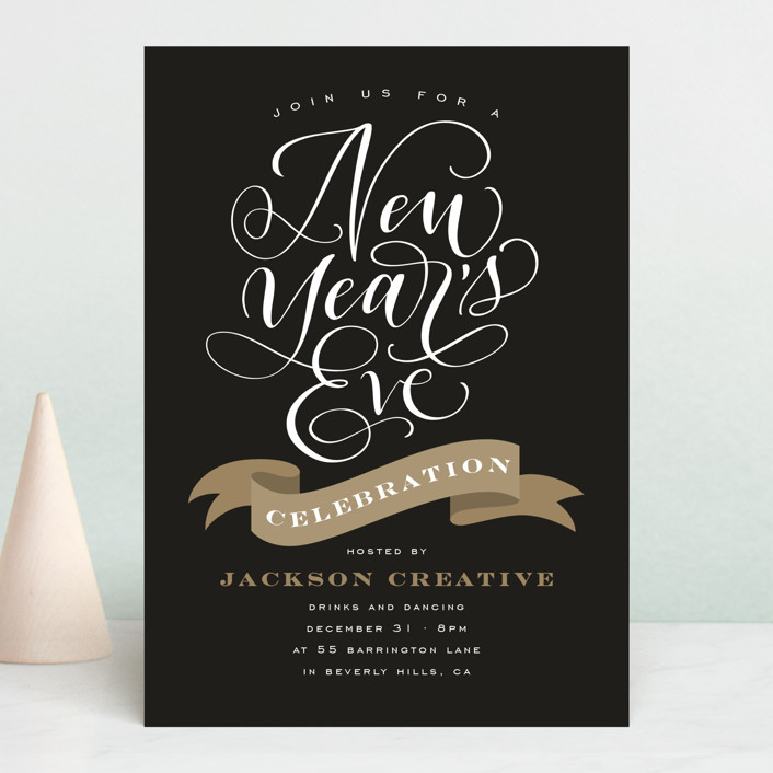 """""""NYE"""" - Holiday Party Invitations in Midnight by Leah Bisch."""