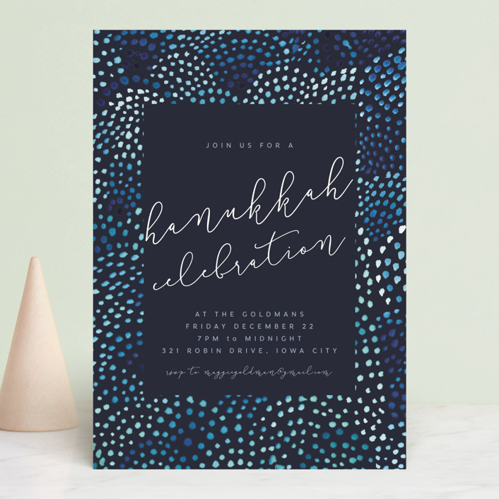 """""""watercolor dots new year"""" - Holiday Party Invitations in Midnight by Kate Ahn."""
