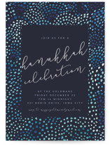 This is a blue holiday party invitation by Kate Ahn called watercolor dots new year printing on signature.
