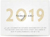 This is a white holiday party invitation by Grace Kreinbrink called Ring It In printing on signature.