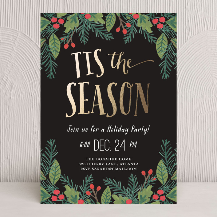 """""""Tis the Season"""" - Hand Drawn Holiday Party Invitations in Night by August and Oak."""