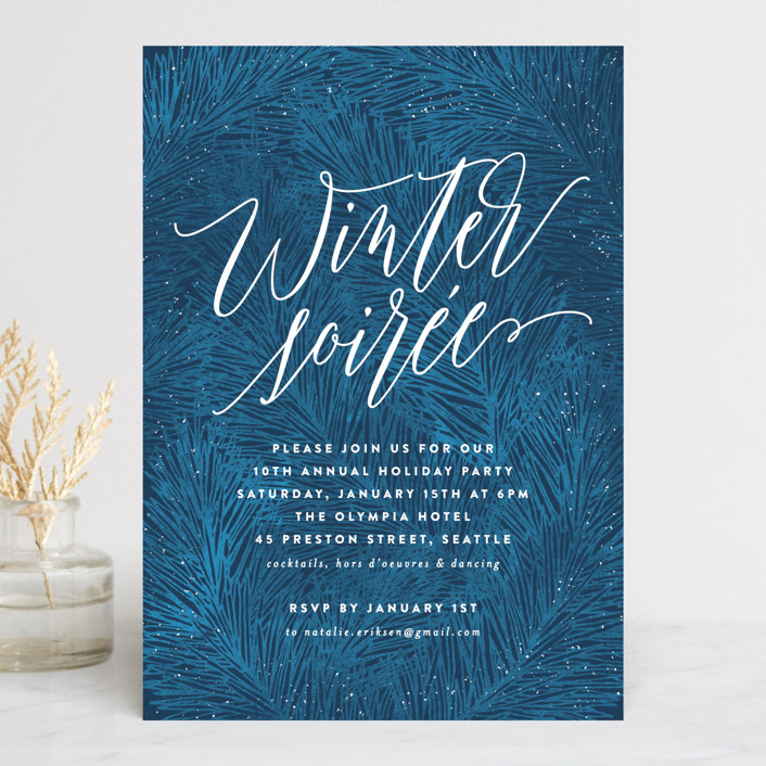 """Winter Pine"" - Holiday Party Invitations in Royal Blue by Hooray Creative."