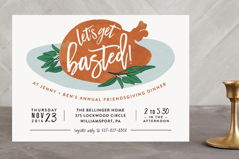 Let's Get Basted Holiday Party Invitations