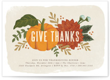 This is a beige holiday party invitation by Karidy Walker called festive give thanks printing on signature.