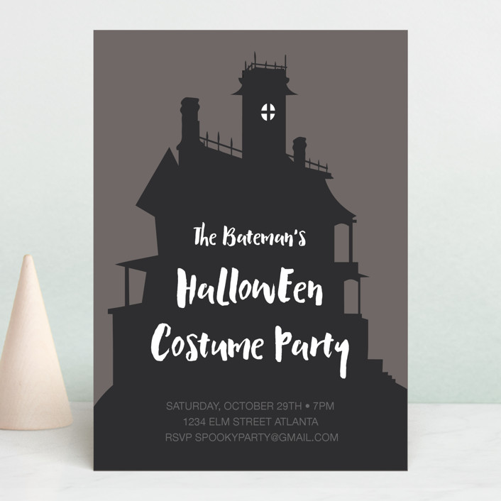 """""""Haunted House"""" - Simple Holiday Party Invitations in Charcoal Grey by Morgan Kendall."""