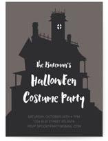 This is a grey holiday party invitation by Morgan Kendall called Haunted House printing on signature.