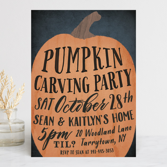 """""""Pumpkin Carving Party"""" - Bold typographic Holiday Party Invitations in Cauldron by Hooray Creative."""