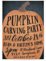This is a black holiday party invitation by Hooray Creative called Pumpkin Carving Party printing on signature.