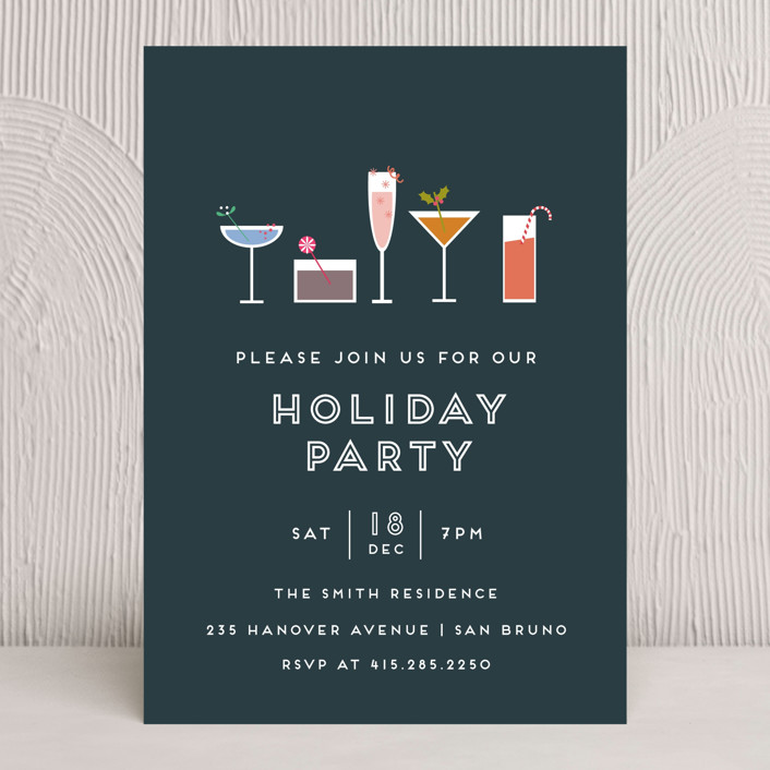 """""""Festive Cocktails"""" - Modern, Simple Holiday Party Invitations in Navy by Bethan."""