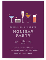 This is a purple holiday party invitation by Bethan called Festive Cocktails printing on signature.