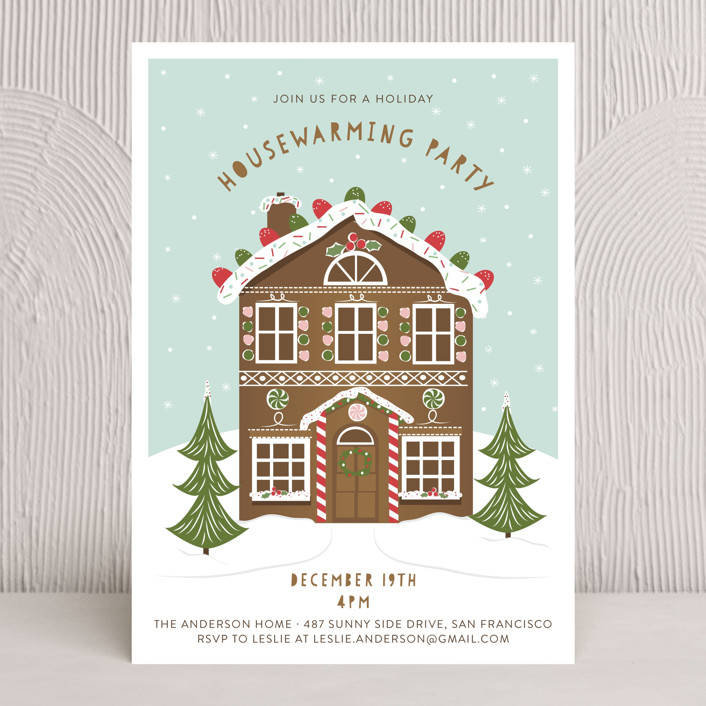 """Gingerbread Party"" - Whimsical & Funny, Hand Drawn Holiday Party Invitations in Winter Mint by Susan Moyal."