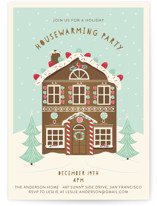 This is a ivory holiday party invitation by Susan Moyal called Gingerbread Party printing on signature.