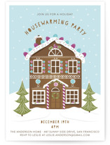 This is a purple holiday party invitation by Susan Moyal called Gingerbread Party printing on signature.