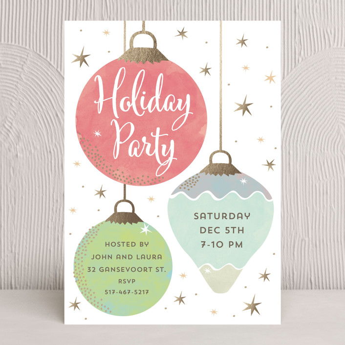 """""""Holiday Bauble"""" - Whimsical & Funny Holiday Party Invitations in Candy by peetie design."""