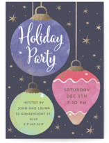 This is a purple holiday party invitation by peetie design called Holiday Bauble printing on signature.