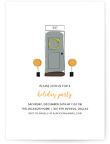 This is a orange holiday party invitation by Fig and Cotton called Open House printing on signature.