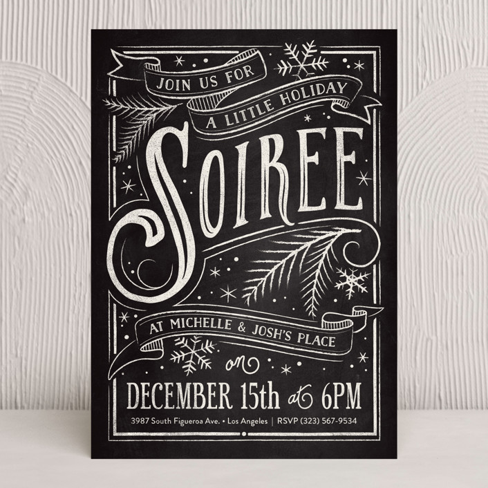 """""""Holiday Soiree"""" - Vintage, Hand Drawn Holiday Party Invitations in Slate by GeekInk Design."""