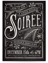 This is a black holiday party invitation by GeekInk Design called Holiday Soiree printing on signature.