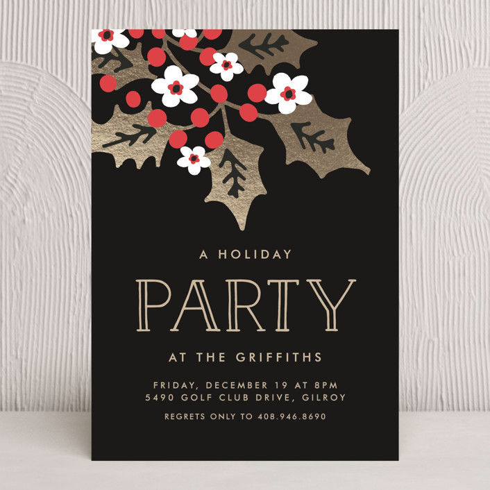 """Holly Party"" - Traditional Holiday Party Invitations in Night by Chris Griffith."