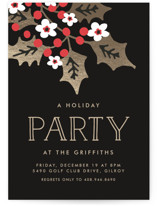 This is a black holiday party invitation by Chris Griffith called Holly Party printing on signature.