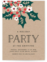 This is a brown holiday party invitation by Chris Griffith called Holly Party printing on signature.