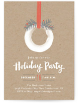 This is a brown holiday party invitation by Jennifer Wick called Wintry Wreath printing on signature.