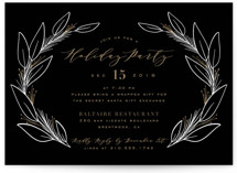 This is a black holiday party invitation by Leah Bisch called Winter Thanks printing on signature.