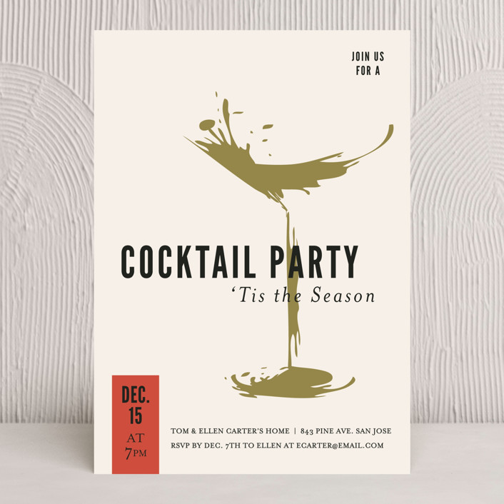 """""""cocktail splash"""" - Holiday Party Invitations in Ivory by design market."""