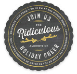 This is a black holiday party invitation by Kaydi Bishop called Join Us For Ridiculous Cheer printing on signature.