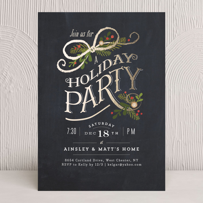 """Nightfall"" - Hand Drawn, Classical Holiday Party Invitations in Chalkboard by Jennifer Wick."