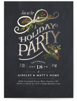 This is a black holiday party invitation by Jennifer Wick called Nightfall printing on signature.