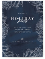 This is a blue holiday party invitation by Creo Study called Frosty chic printing on signature.