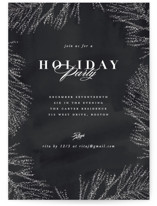 This is a black holiday party invitation by Creo Study called Frosty chic printing on signature.
