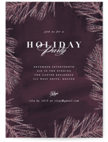 This is a purple holiday party invitation by Creo Study called Frosty chic printing on signature.