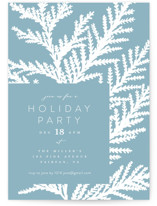 This is a blue holiday party invitation by Owl and Toad called Peaceful Silhouette printing on signature.
