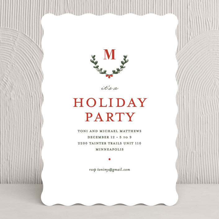 """""""Holiday Boughs"""" - Classical Holiday Party Invitations in Evergreen by Susan Brown."""