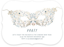 This is a blue holiday party invitation by Phrosne Ras called Holiday Mask printing on signature.