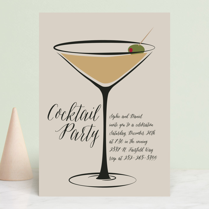 """""""Cocktail Anyone?"""" - Modern Holiday Party Invitations in Mushroom by Faiths Designs."""