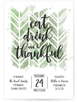 This is a green holiday party invitation by Ally Madison called Thankful Herringbone printing on signature.